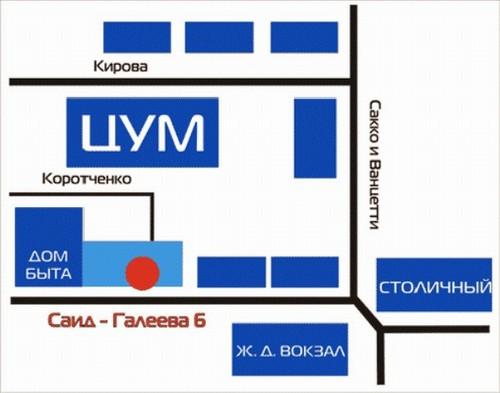Казань, С. Галеева улица.  Схема проезда к магазину.