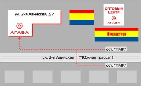 Казань, Мегастрой, 2-я Азинская улица.  Схема проезда к магазину.