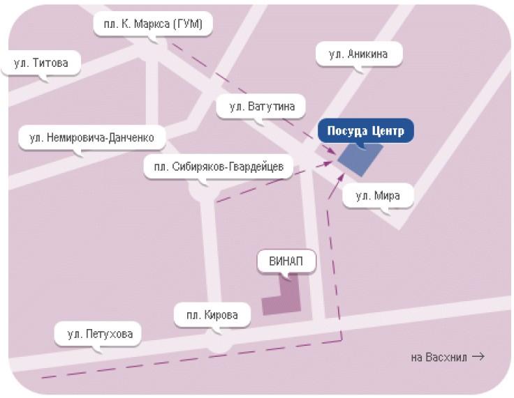 Новосибирск, Мира улица.  Схема проезда к магазину.