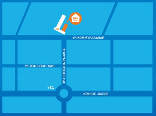 Тольятти, Коммунальная улица.  Схема проезда к магазину.