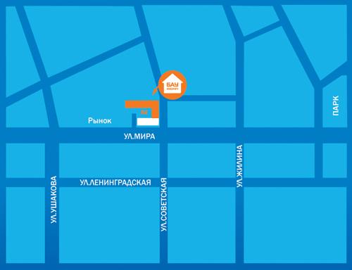 Тольятти, Мира улица.  Схема проезда к магазину.